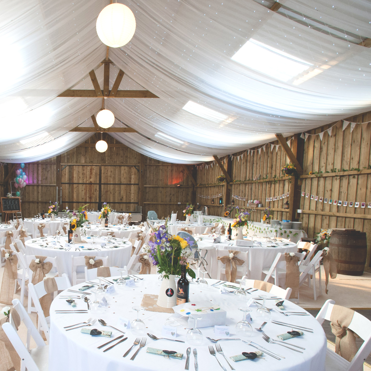 Milton Barn tables set up and ready : Wedding Venue Bude, Cornwall