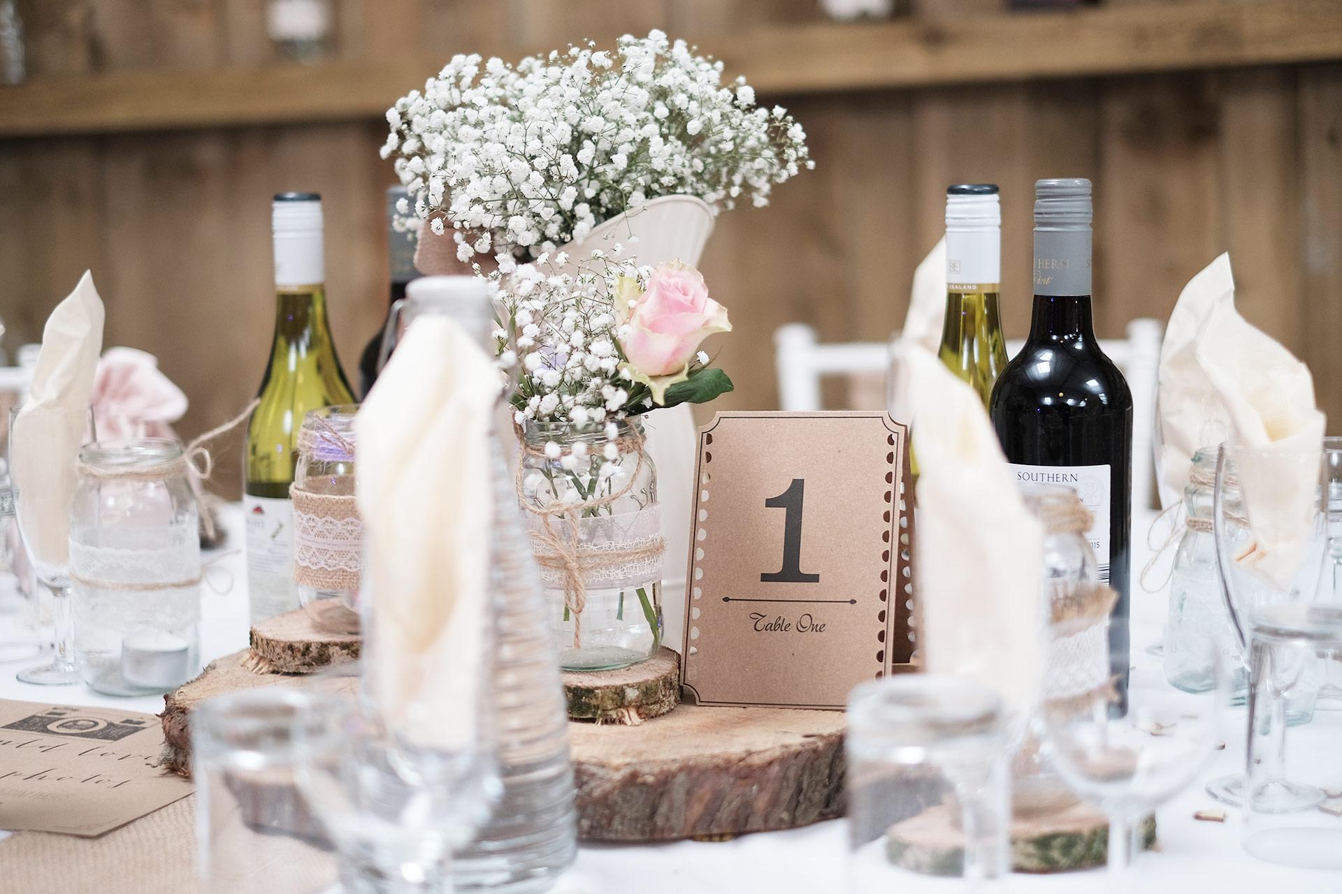 Wedding Table Decor : Milton Barn Wedding Venue Bude Cornwall