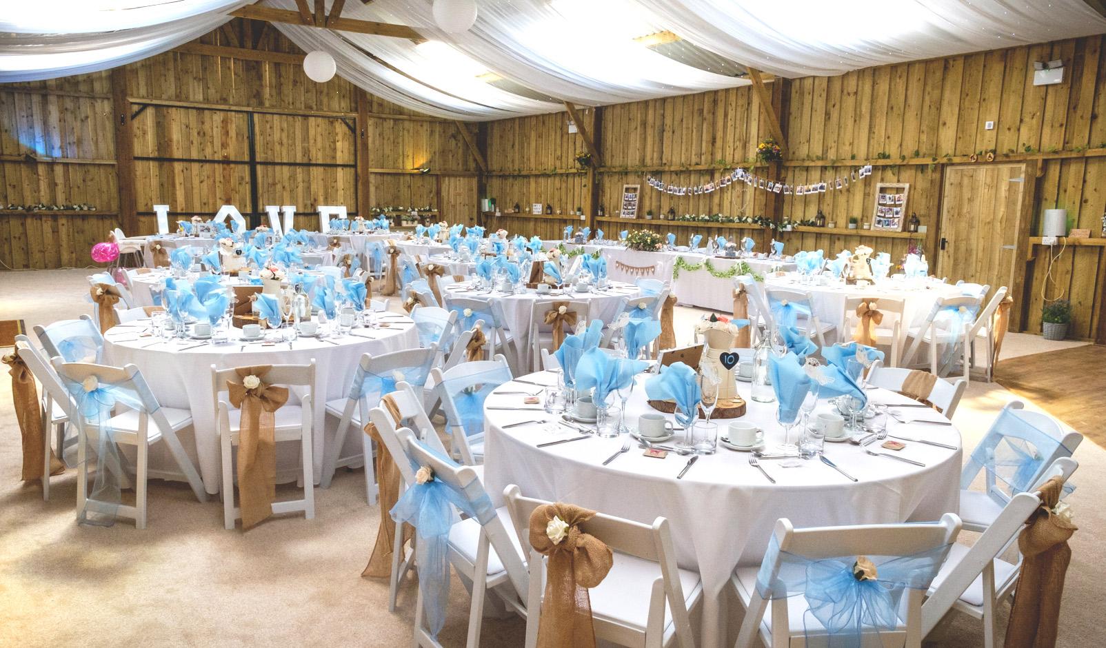 Milton Barn all set up and ready : Wedding Venue Bude Cornwall